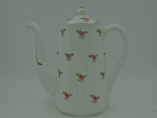 Shelley Bone China Dainty White & Gold Roses Coffee Pot Teapot