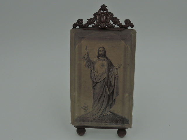 "Vintage French Bronze Beveled Glass Photo Frame Jesus Picture 4"" x 2.5"""
