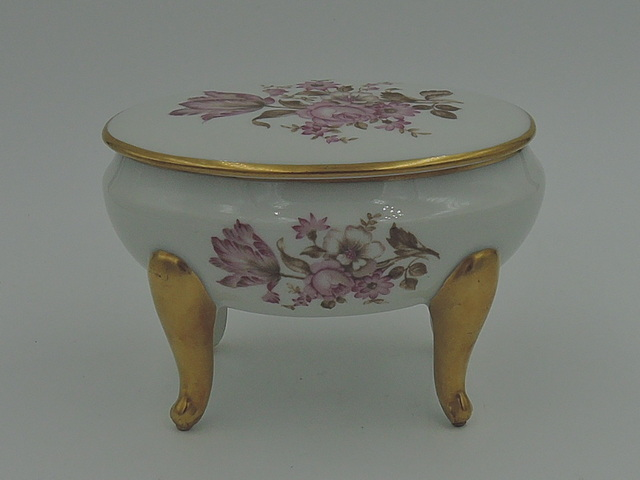 Vintage French Limoges Pink Roses Oval Jewelry Box