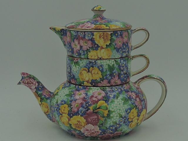 Vintage Royal Winton Chintz Julia Stacked Teapot Stacking Tea For One