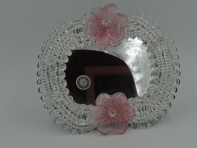 Vintage Italian Murano Glass Venetian Ladies Dresser Mirror w/Pink