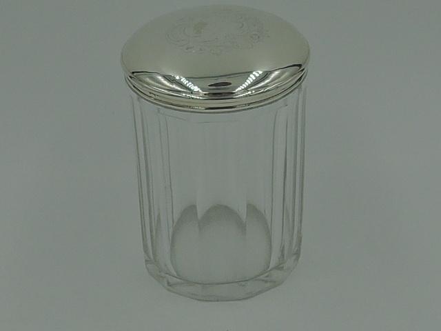 Vintage French Sterling Silver Lid & 12 Sided Glass Ladies Vanity Jar
