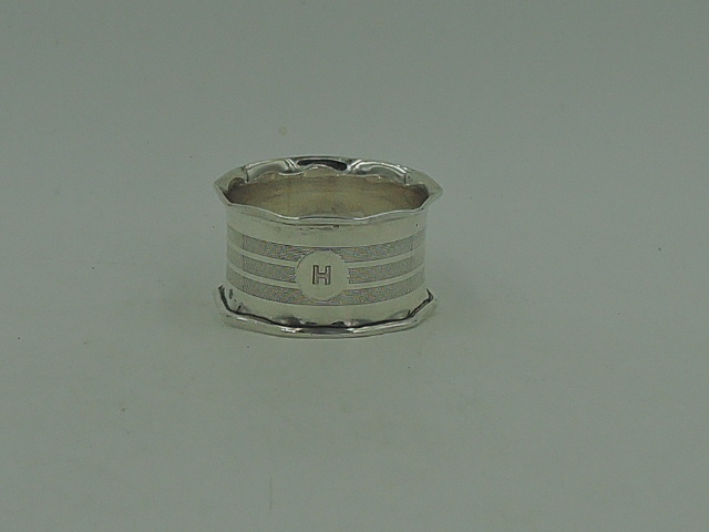 Antique English Sterling Silver Napkin Ring Birmingham 1926 Monogram H