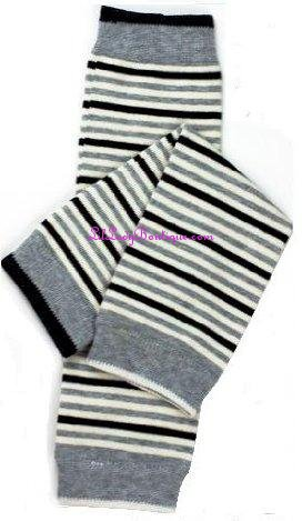 Grey Black & White Stripe Leg Warmers