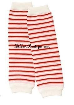 Red Pink & White Stripe Leg Warmers