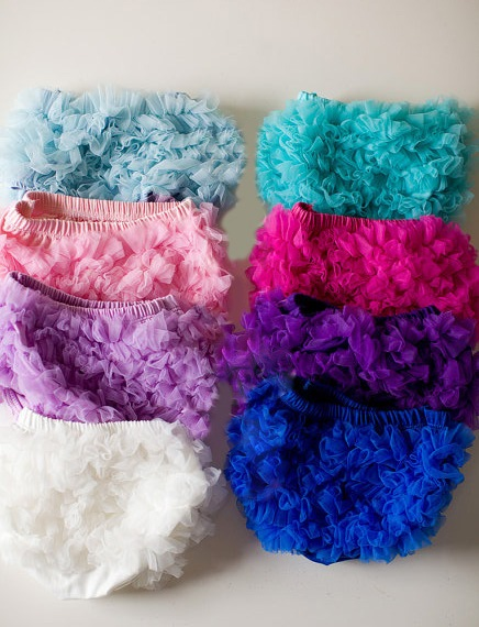 Light Blue Cotton Ruffle Bloomers