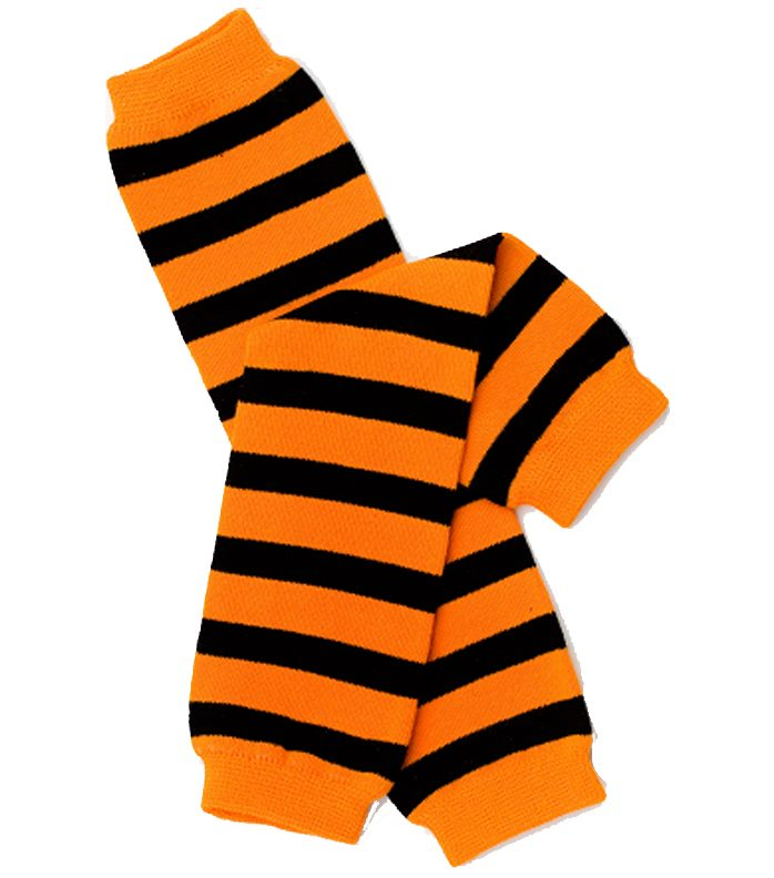 Halloween Black & Orange Stripe Leg Warmers
