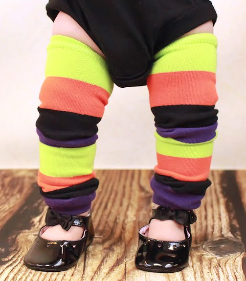 Halloween Stripe Leg Warmers