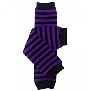 Black & Purple Stripe Leg Warmers
