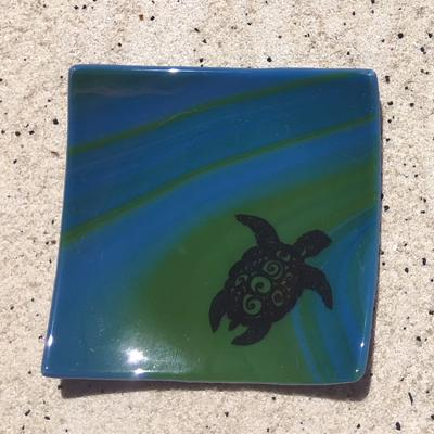 Fused Glass Blue Green Turtle Dish