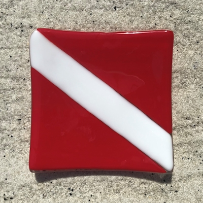 Fused Glass Dive Flag (Opaque)