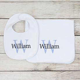 Monogram Bib & Burp Cloth Set for Boys