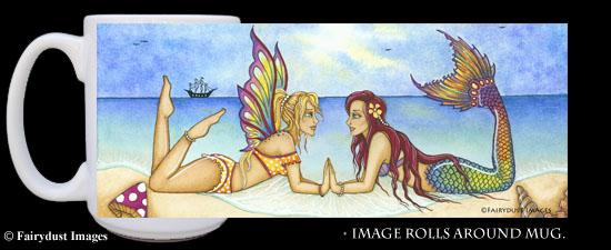 Summertime Beauties, Fairy and Mermaid Coffee Mug