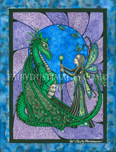 Enchant Night, Magical Fairy and Dragon Art Print
