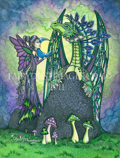 Enchantment, Fairy and Dragon Art Print
