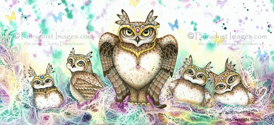 The Family Hoot, Owl Art Print