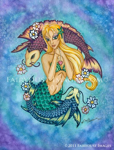 Fanta Sea, Koi Mermaid Art Print