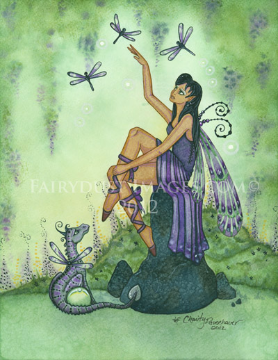 Land of Dragonflies, Fairy and Baby Dragon Art Print