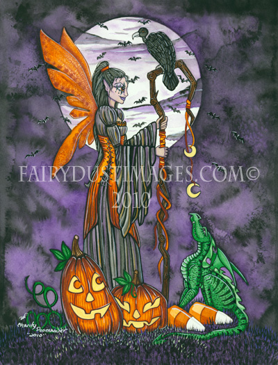 Moonlit Magic, Halloween Fairy and Green Dragon Art Print