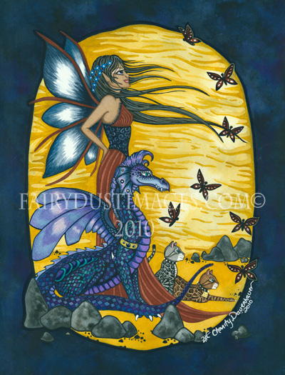 Once Apon a Time, Fairy and Dragon Art Print