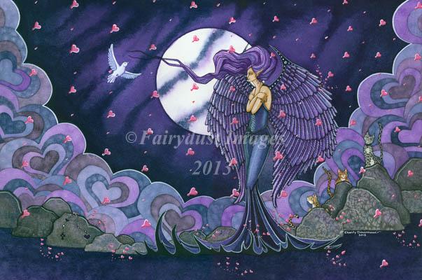 Raining Love, Angel Standing in Rain Art Print