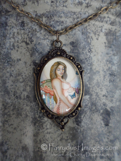 Life's Precious Moments, Pregnant Fairy Art Pendant