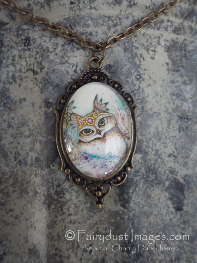 The Family Hoot, Pink Baby Owl Art Pendant