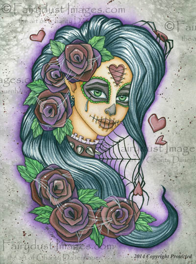 Spider Bite, Purple Sugar Skull Fairy Art Print