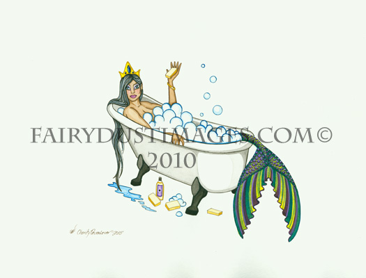 Splish Slash, Mermaid in Bathtub Art Print
