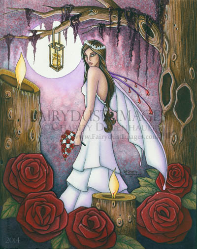 Bride of Red Roses, Fairy Wedding Art Print
