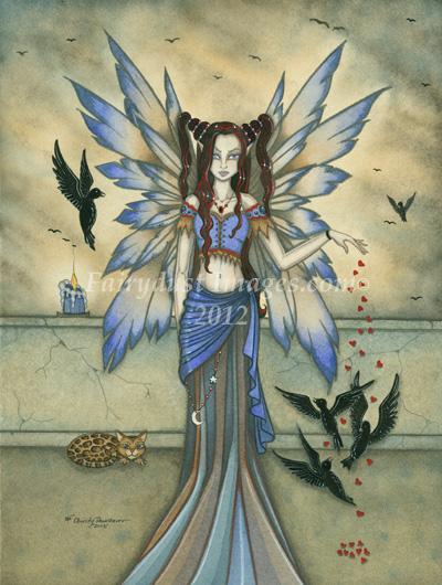 The Midnight Feeding, Gothic Fairy Art Print