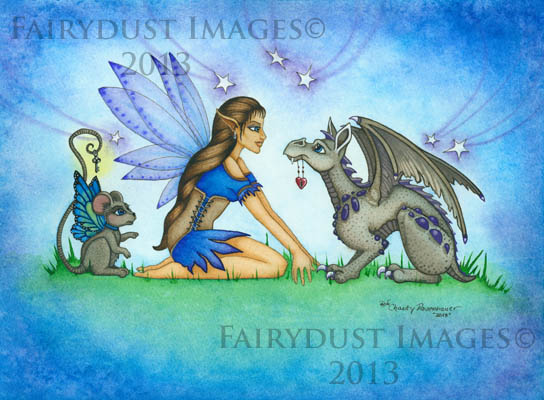 The Not So Hidden Key, Fairy and Baby Dragon Art Print