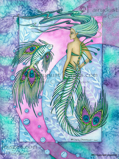 The Peacock Mermaid, Limited Edition Fine Art Print