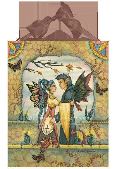 Autumn's Goodbye, Fairy Couple Art Tile