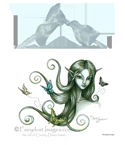 Fluttering Moments, Fairy Face Art Tile