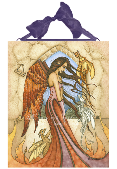 If Only They Were Dragons, Angel with Pet Dragons Art Tile