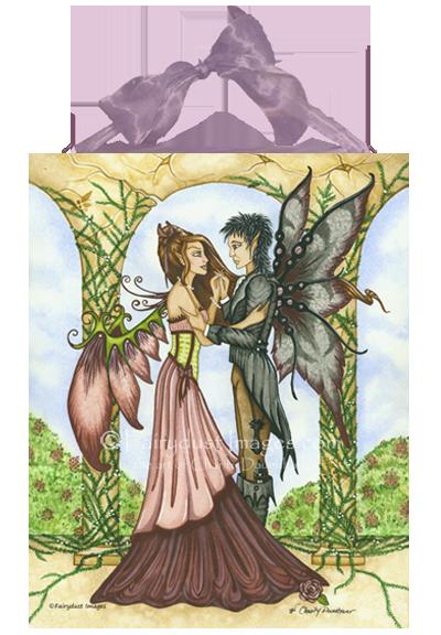 Romantic Moment, Dancing Fairy Couple Art Tile