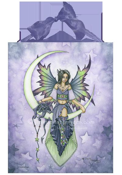Starry Night, Cresent Moon Fairy Art Tile