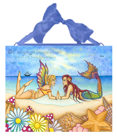 Summertime Beauties, Fairy & Mermaid Art Tile