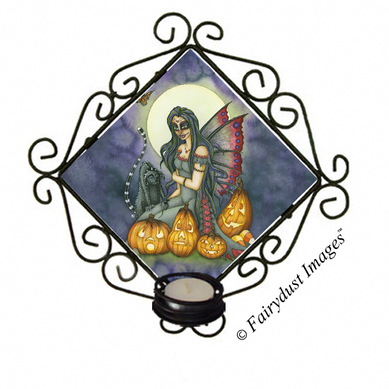 Fright Night, Halloween Tile Candle Sconce