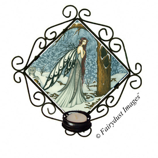 Winter Bliss, Snow Fairy Tile Candle Sconce
