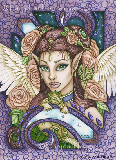 Angel Face, Angelic Baby Dragon Art Print
