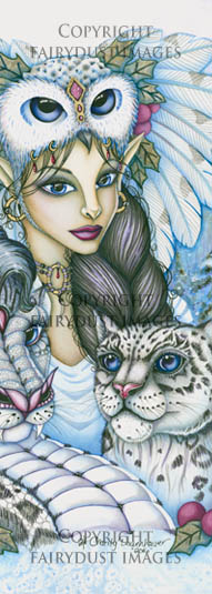 Winter's Snow Queen, Fairy Leopard Dragon Bookmark