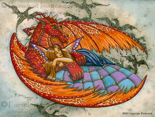 In the Arms of the Protector, Dragon and Fairy Art Print