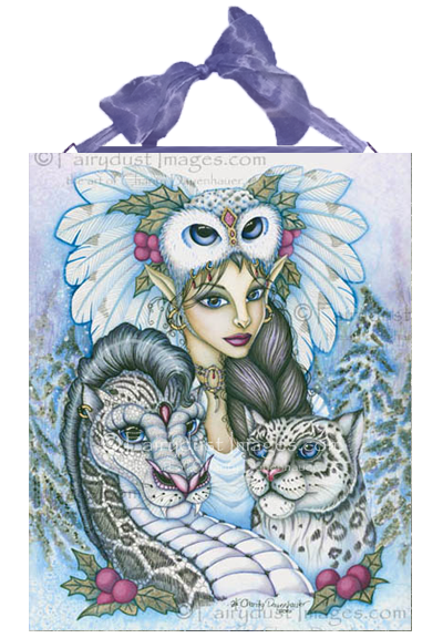 Winter's Snow Queen, Fairy Elf and Leapard Dragon Ceramic Art Tile