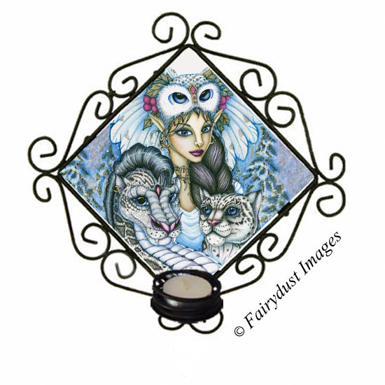Winter's Snow Queen, Snowy Owl Fairy and Leopard Dragon Tile Candle Sconce