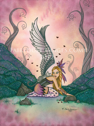 Winter's Wings, Cat Angel Art Print