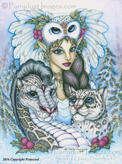 Winter's Snow Queen, Leopard Fairy Art Print
