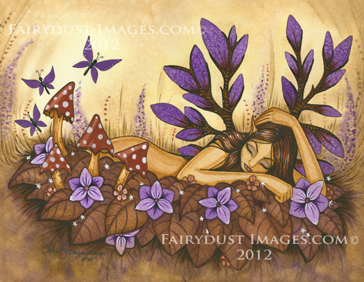 Woodland Fairy, Original Handcrafted Ink & Watercolor Painting