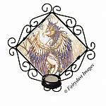 Beauty, Feathered Dragon Tile Candle Sconce